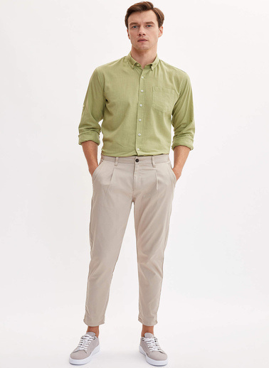 DeFacto Basic Modern Fit Gömlek Yeşil